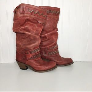 Corral Red Leather Heeled Cowboy Boots Size 10M